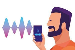 Uomo con la barba usando il riconoscimento vocale