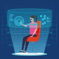 Donna con tecnologia di realtà virtuale vettore
