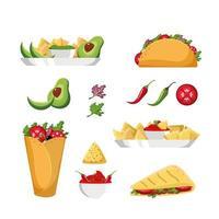 Set di cibo messicano vettore