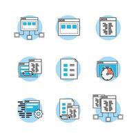 set di icone di tecnologia sito Web, codice, programmatore vettore