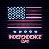 Insegna al neon della festa dell'indipendenza americana vettore