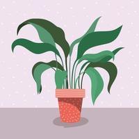 pianta d'appartamento in vaso sul pavimento vettore