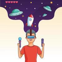 Adolescente con il gioco del videogioco VR vettore