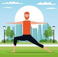 Uomo che fa yoga nel parco vettore