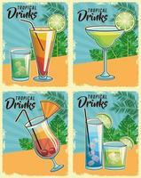 Set di poster di cocktail tropicali retrò