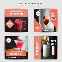 Food and drink post social media design vettore