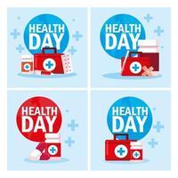 set di carte giornata mondiale della salute vettore