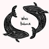 Equilibrio di vita di mare della balena nera vettore