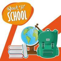 Messaggio di ritorno a scuola con zaino