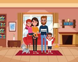 Famiglia dentro casa dei cartoni animati vettore