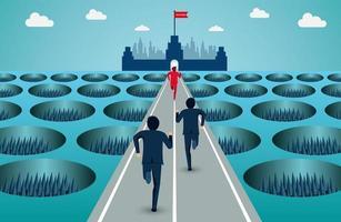 Gli uomini d'affari corrono sulla strada attraverso ostacoli all'obiettivo di successo aziendale