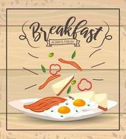 uova fritte con pancetta a colazione deliziosa vettore