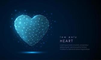 Icona astratta del cuore. Design in stile poli basso. vettore