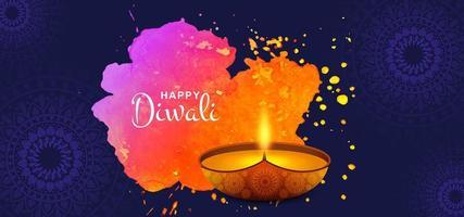 Illustrazione variopinta del fondo di festival della cartolina d'auguri di diwali dell'acquerello artistico