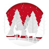 Illustrazione rotonda di natale con la foresta e la renna