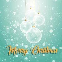 Messaggio di Natale con chiari ornamenti a sfera