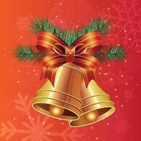 Sfondo di Natale con campane realistiche vettore