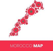 Mappa del Marocco piena di cerchi a forma di bandiera