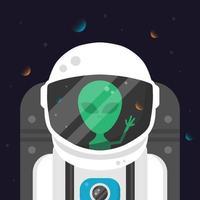 Alieno astronauta in tuta spaziale vettore