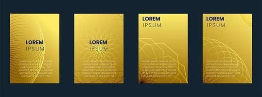 Collezione di copertine con sfumature dorate e linee geometriche vettore