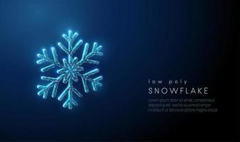 Fiocco di neve astratto. Design in stile poli basso. vettore