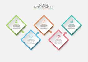 Modello di business quadrati infografica vettore