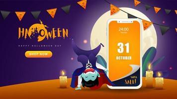 Banner di applicazione web mobile di Halloween vettore