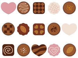 Set di icone di cioccolato isolato su uno sfondo bianco.