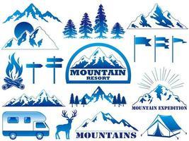 Insieme di elementi grafici di resort di montagna e attività all'aperto.