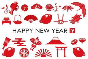 Modello di biglietto di auguri di Capodanno con l'icona dell'Anno del Ratto e una varietà di portafortuna giapponesi.