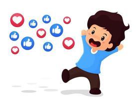 Il ragazzo è felice di essere popolare nei social media vettore