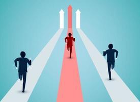 Uomini d'affari che eseguono concetto di direzione della concorrenza