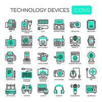 Set di dispositivi tecnologici sottile linea e pixel icone perfette per qualsiasi progetto web e app. vettore