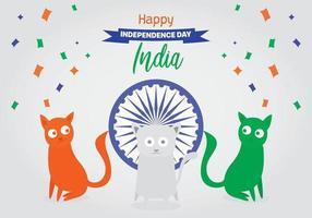 Gatti con la bandiera della festa dell'indipendenza indiana