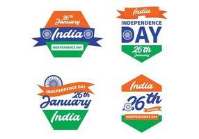Collezione di badge per la festa dell'indipendenza dell'India