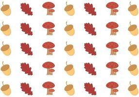 Modello autunno senza soluzione di continuità con funghi, foglie vecchie e semi