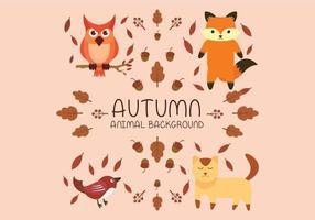 Animale autunno con volpe, gatto, uccello e gufo vettore
