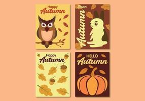 Collezione di carte autunno con animali, noci e vecchie foglie