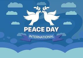 Giornata internazionale della pace sfondo internazionale con le colombe vettore