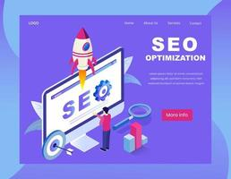 SEO is landing page design isometrico