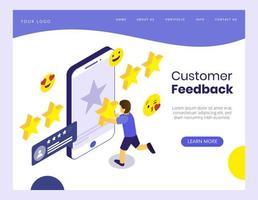Concetto isometrico di feedback dei clienti