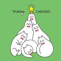 Natale sveglio del fumetto, vettore dell'albero di Natale della struttura dei gatti.