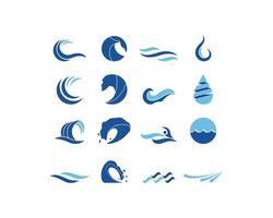 Insieme di logo dell'onda di acqua