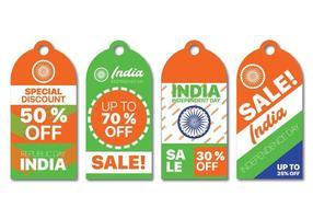 Collezione di etichette in vendita per la festa dell'indipendenza dell'India