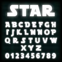 Modello di carattere alfabeto al neon bianco