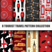 Set di viaggiare il mondo London Seamless Pattern vettore