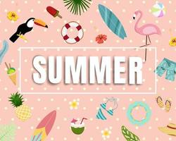 Carta di banner e poster di elementi di bella estate vettore
