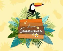 Carta di banner e poster di bella estate amore vettore