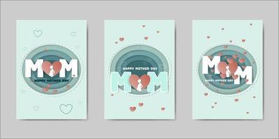 Set di cartoline d'auguri di Happy Mothers Day