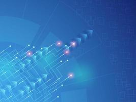 Disegno astratto tecnologia incandescente con frecce diagonali